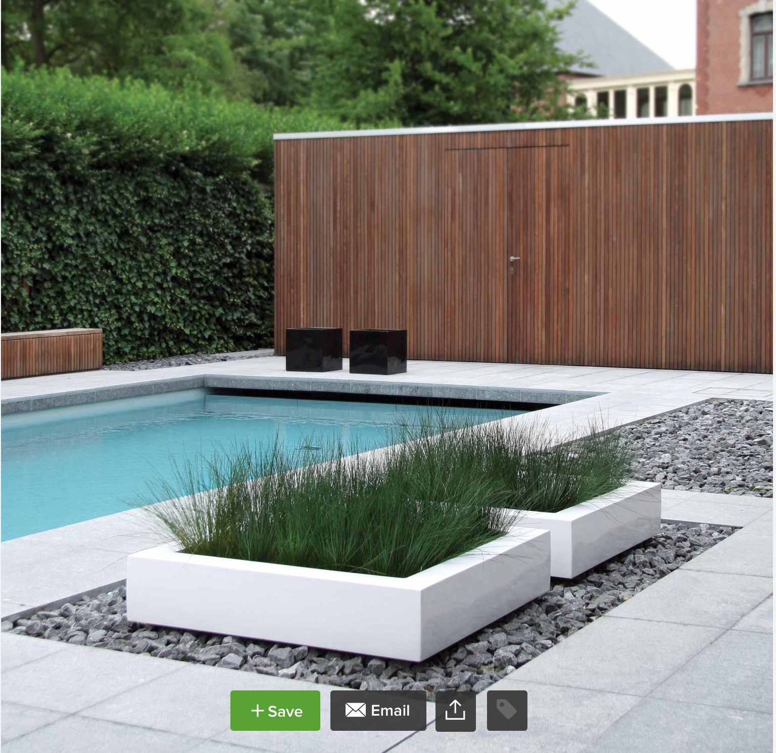 Pool And Decking Materials River Rocks, White Walls, Wood Walls