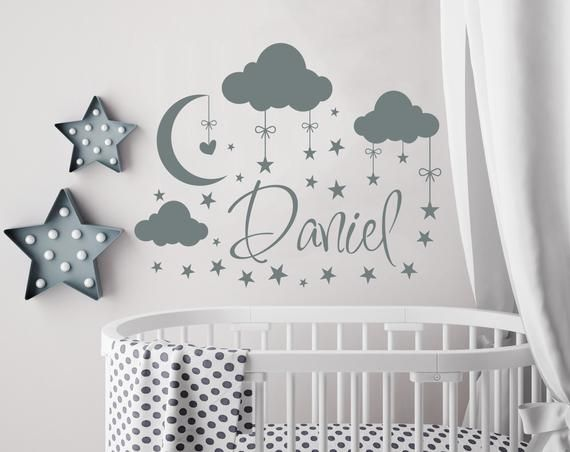 Name Wall Decal Boy Cloud Nursery Moon And
