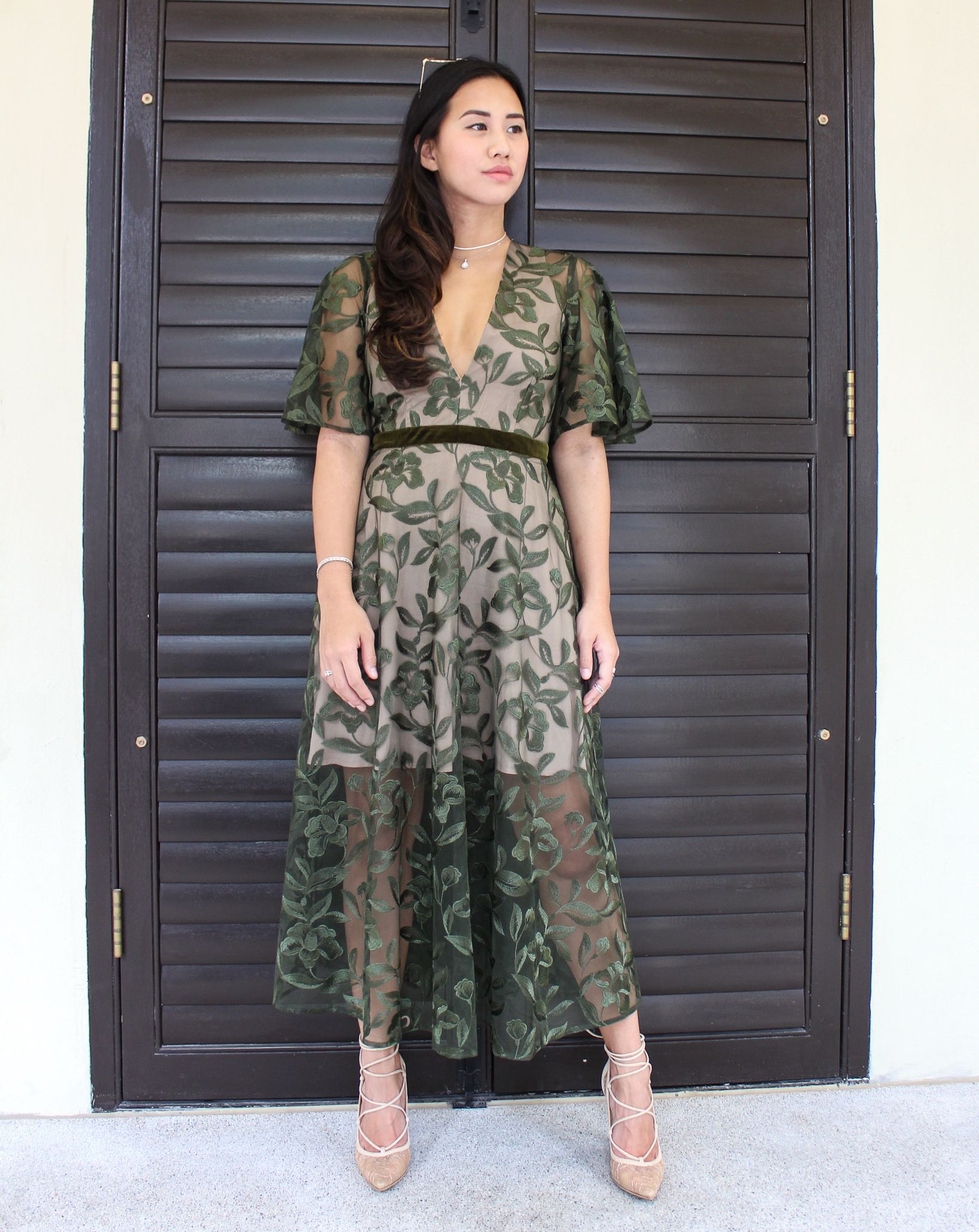 Green dress for wedding  Lucia Embroidered Backless Dress Olive  WEDDING GUEST  Pinterest
