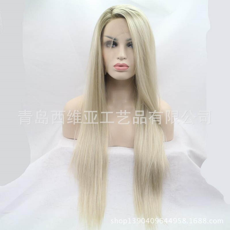 47.00$  Buy here - http://aijh2.worlditems.win/all/product.php?id=32722101857 -  Fashion Top Quality Two Tones Brown / Blonde Ombre Long Straight Wigs Glueless Synthetic Lace Front Wig Heat Resistant Fiber