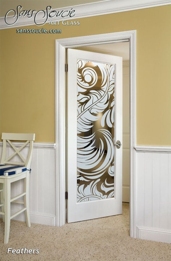Feathers Positive Interior Etched Glass Doors Etch