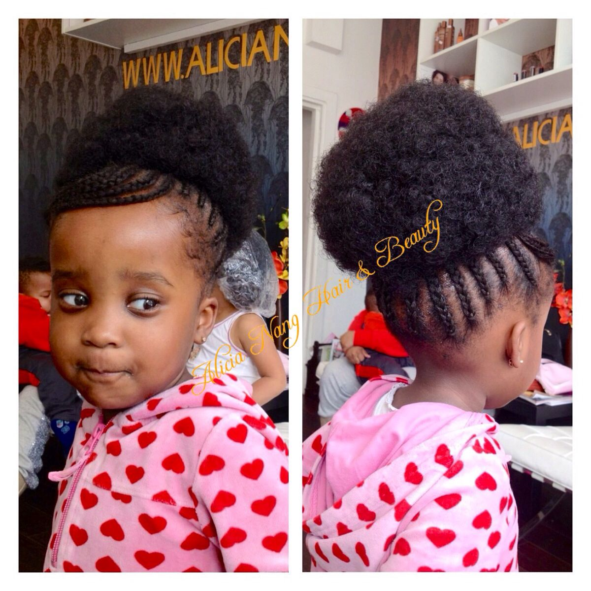 little girl style, cornrows with extension in a bun afro kinky