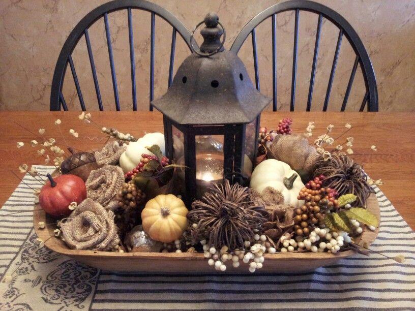 Fall centerpiece with pumpkins burlap flowers and berries in a vintage dough bowl #herbstdekotisch