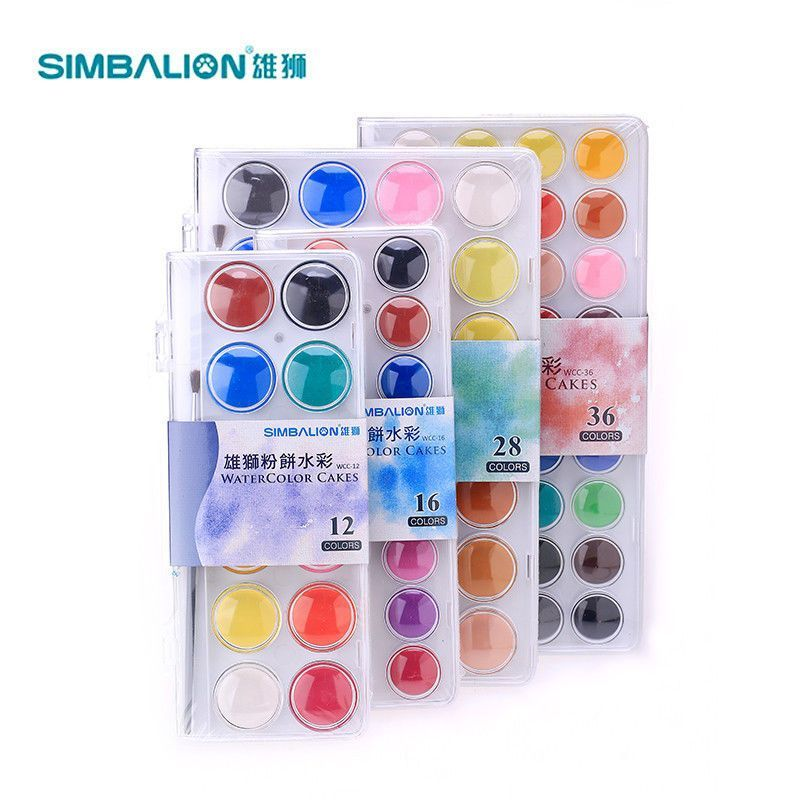 Simb Lion Simply Art Solid Watercolor Paint Cakes 12 16 28 36 Pkg
