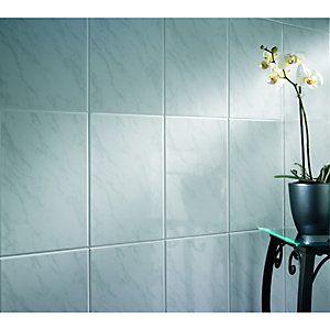 Wickes Carrara Grey & White Gloss Ceramic Wall Tile ...