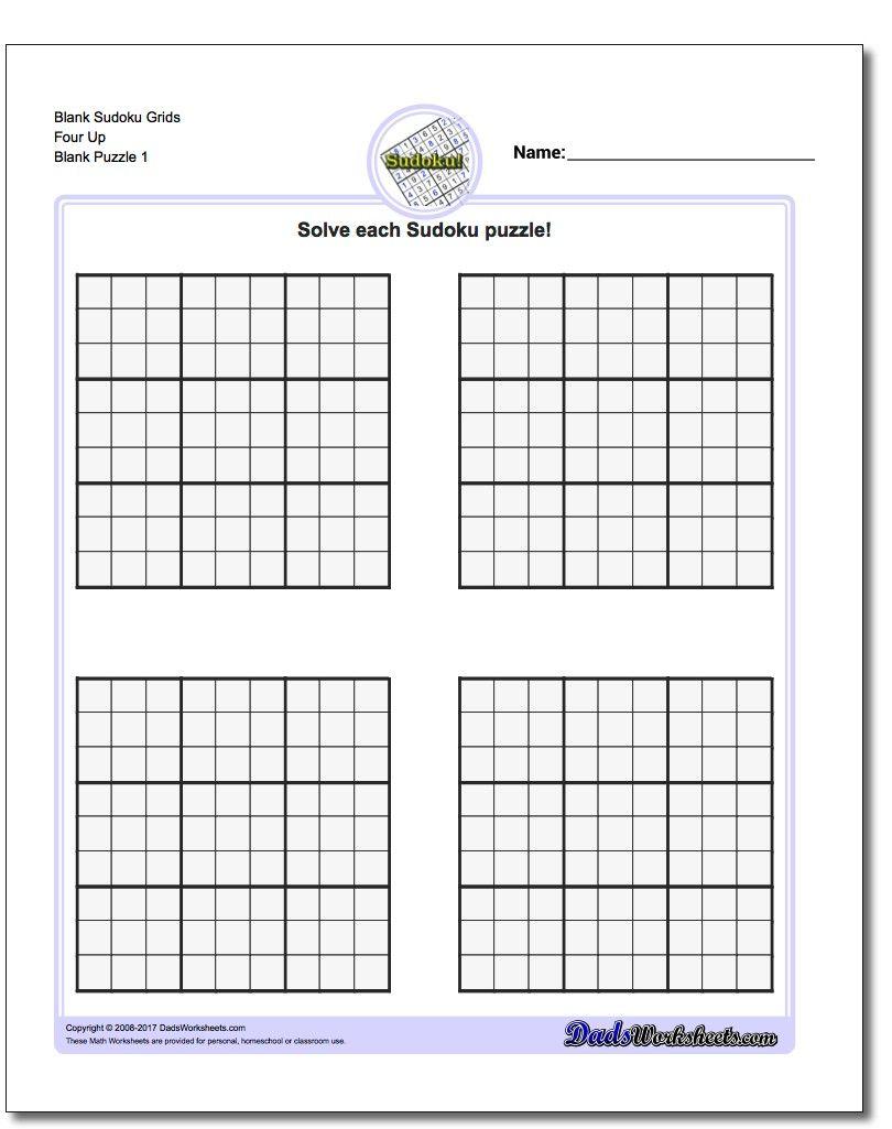 Printable Sudoku Puzzle Blank Grids Four Up Sudoku