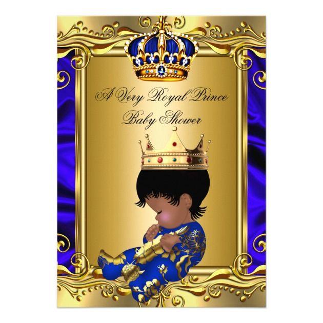 Prince Royal Blue Baby Shower Regal Gold Boy 2 5x7 Paper