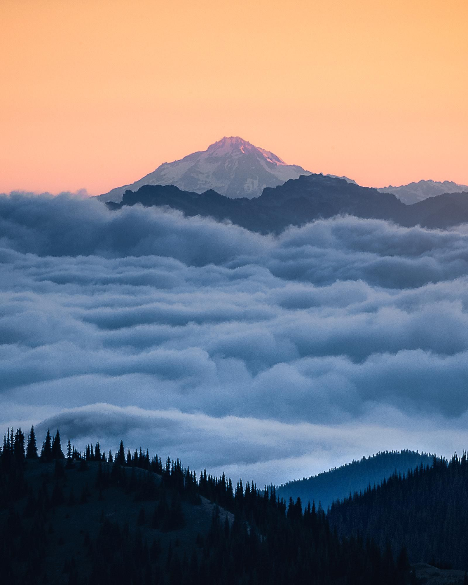 Glacier Peak rising above a sea of clouds during sunrise