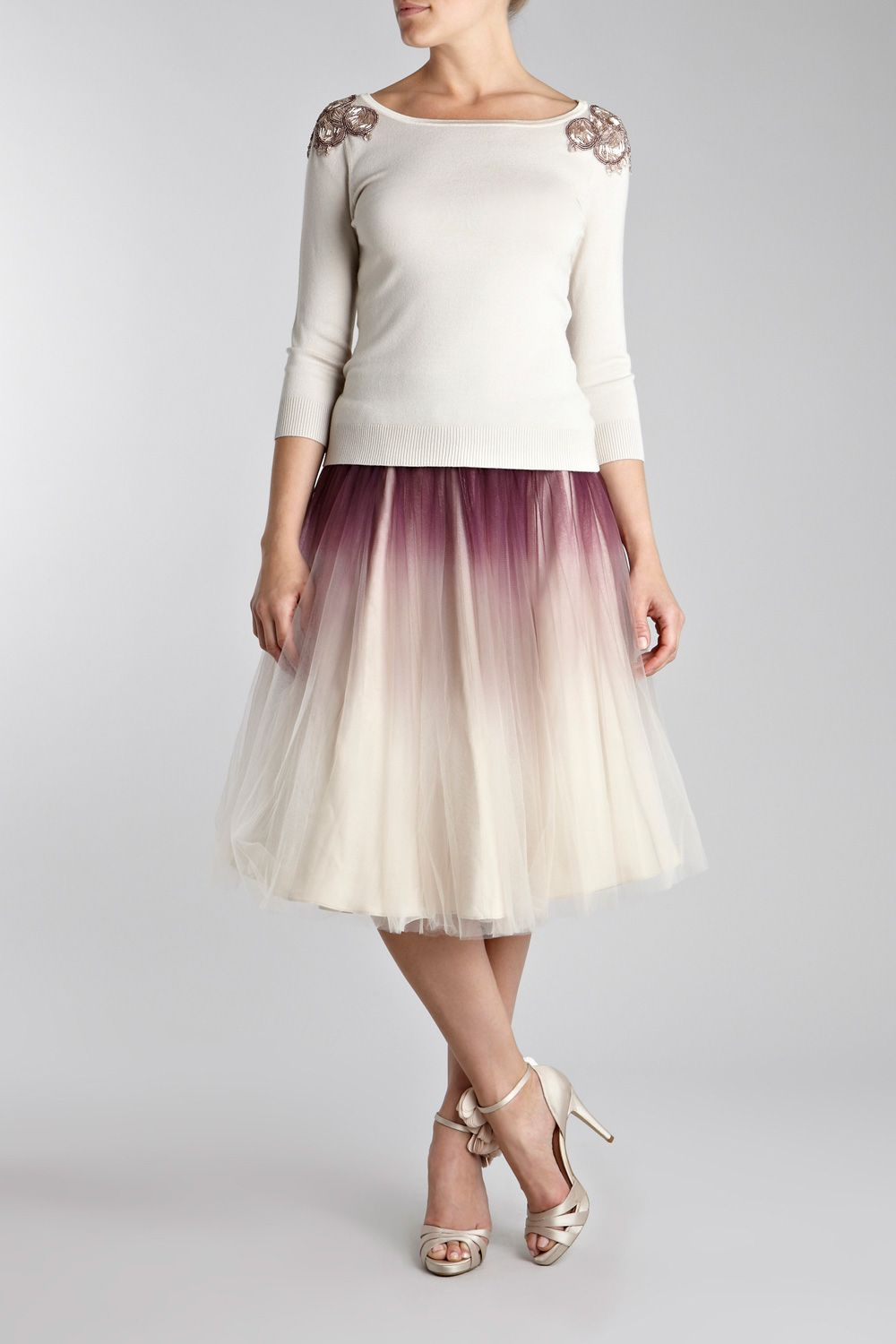 This is a modern and chic full tulle dip dye skirt style i like
