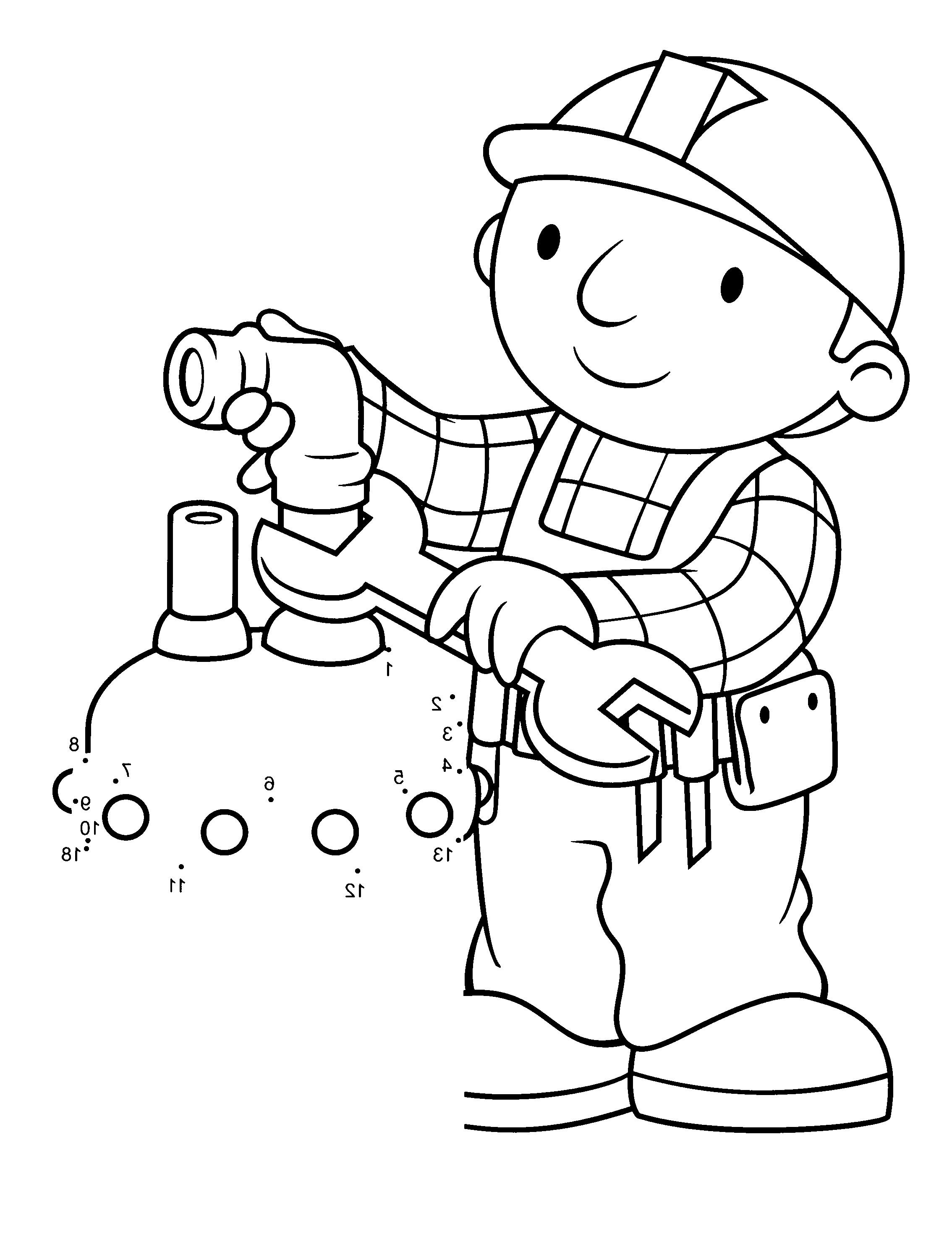 bob the builder fix the tap water coloring for kids - Water Coloring Book