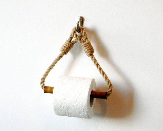 Toilet Paper Holder..Bamboo Roll Holder..Jute Rope
