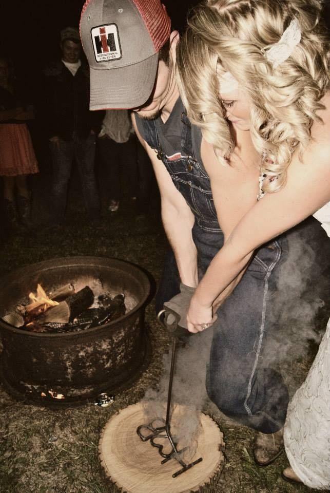 Love This Idea Wedding Brand Instead Of A Unity Candle Now Thats Country Is He Really Wearing Overalls In His