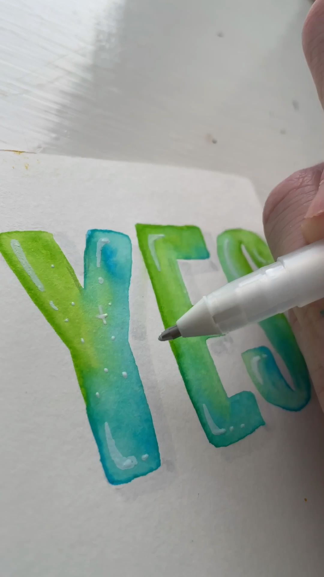 YES TIE-DYE HAND LETTERING AND WATERCOLOR AND CALLIGRAPHY
