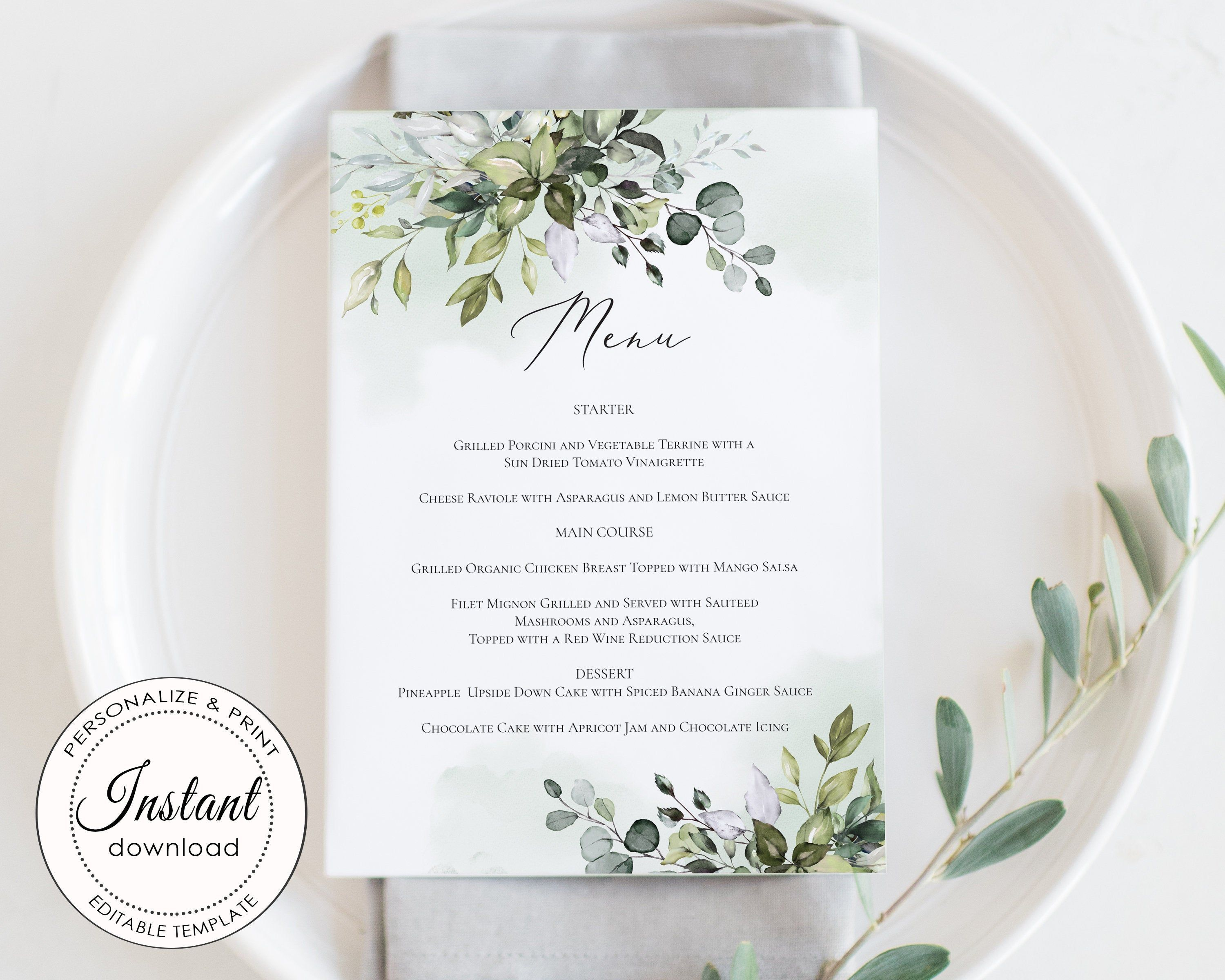 Greenery Menu Template Eucalyptus Menu Wedding Menu Card Etsy In 2020 Menu Card Template Wedding Menu Cards Watercolor Menu