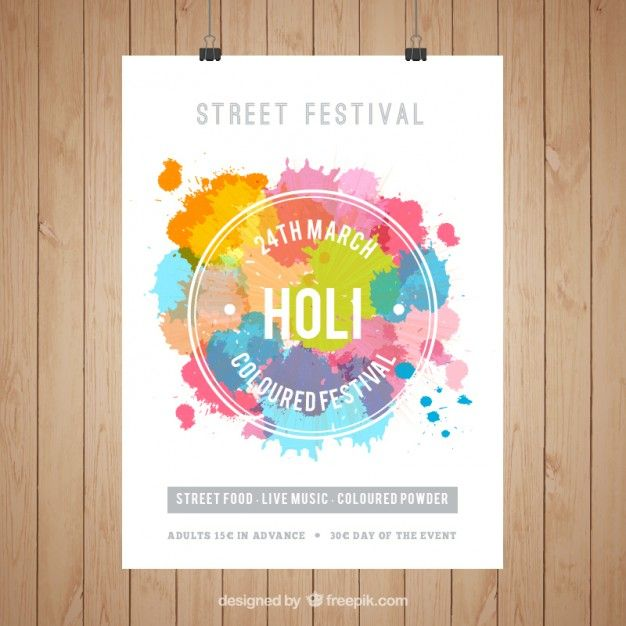Holi Festival Poster Template Free Vector   Free Flyer   Pinterest ...