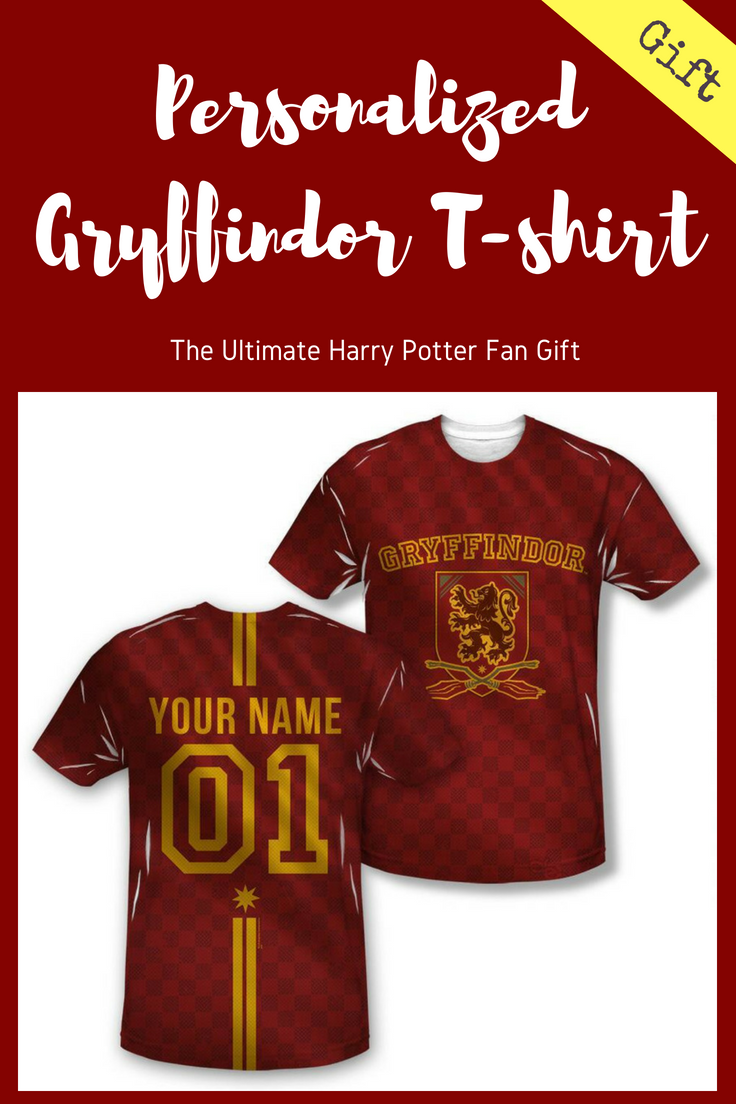 3872001ea Join the team with our exclusive personalized Gryffindor crest adult  Quidditch jersey style t-shirt