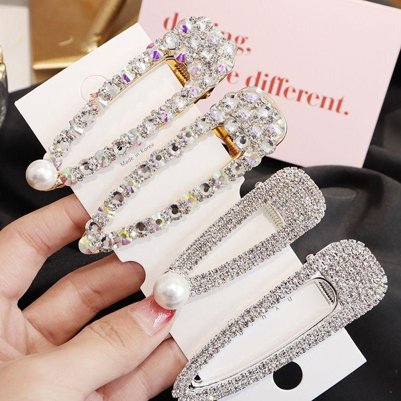 English Letter Crystal Metal Barrettes Hairpins Hair Clip For Women Girls Snap