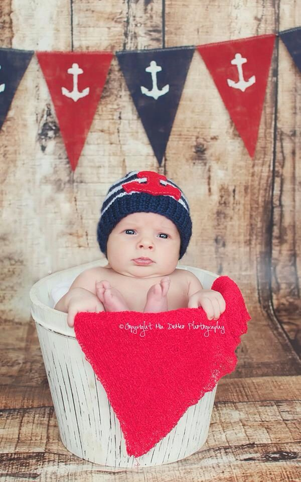 Baby newborn boy nautical anchor beachy themed red and ...