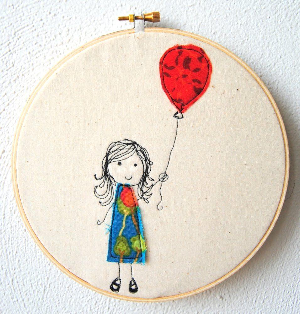 sweet little girl with balloon - embroidery hoop art