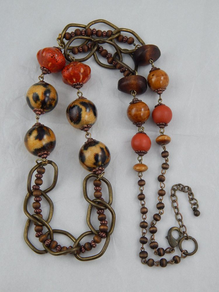 """Estate Couture Runway African Safari Sommerso Wood Bead Necklace Belt 38"""""""