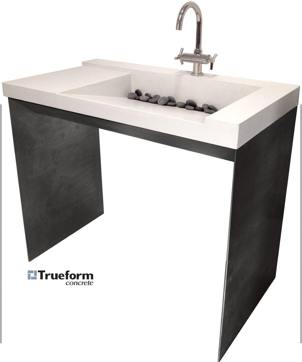 ada compliant sink concrete on a steel