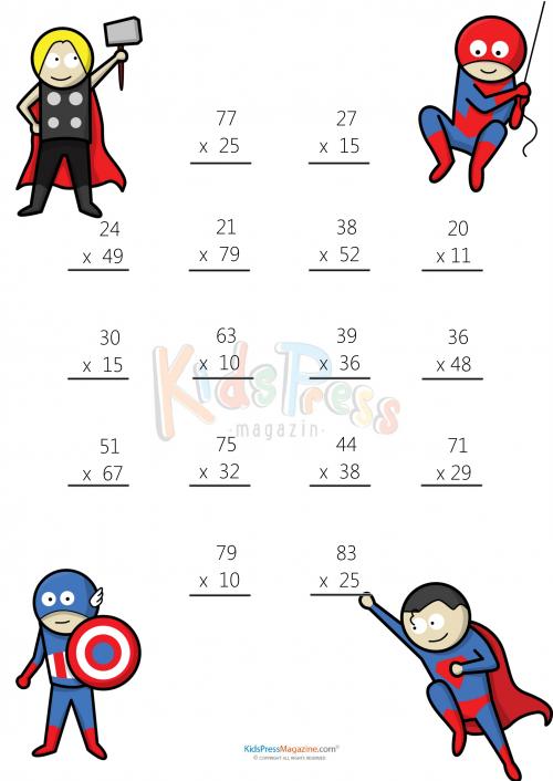 Math Worksheets – 2 Digit by 2 Digit Multiplication #1 ...