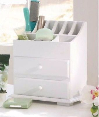 Makeup Storage Cosmetic Organizer White Wood Jewelry Drawers Desk
