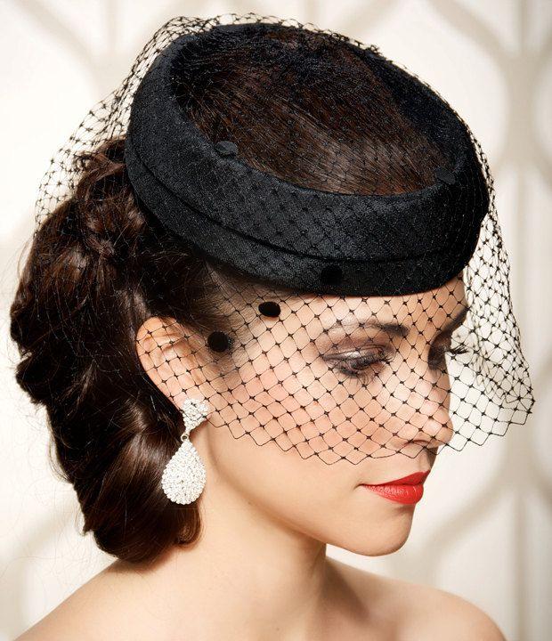 Black Bridal Cocktail Hat, Dotted Black Veil, Vintage 1940