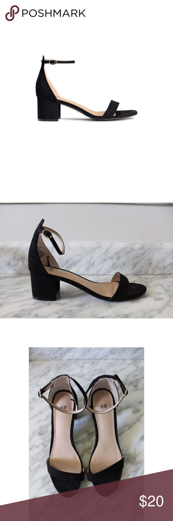59eccd80cb97 H M BLACK ANKLE STRAP BOX HEEL SANDAL • This is your classic shoe. Perfect