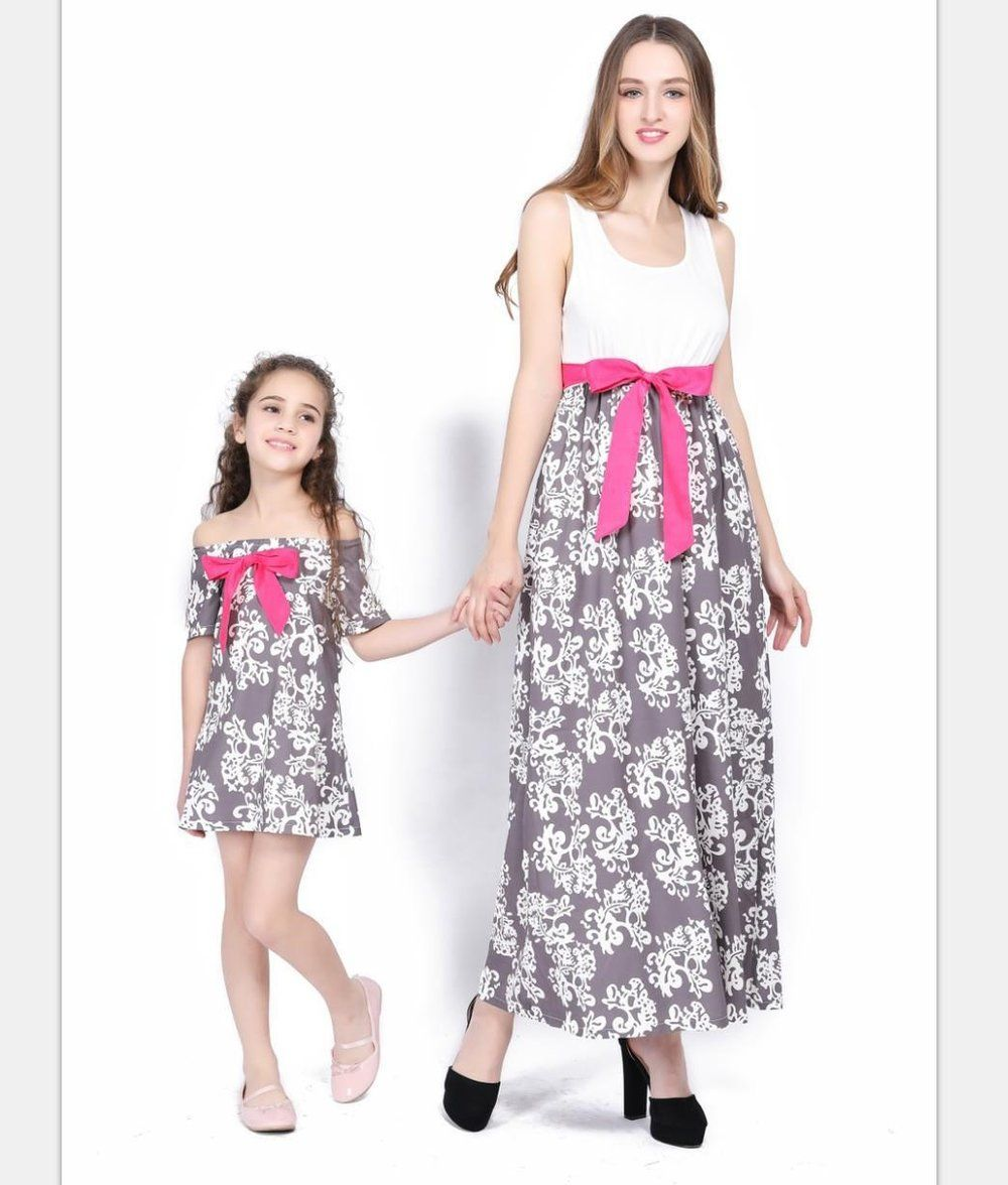 15411abcce70 Fashionable Mom   Me Matching Bowknot Long Dress – ourlittlerascal ...
