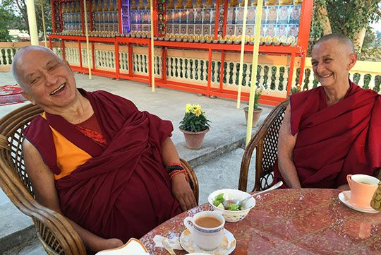 Lama Zopa Rinpoche having tea with Root Institute director Ven. Thubten Labdron, Bodhgaya, India, February 2015.