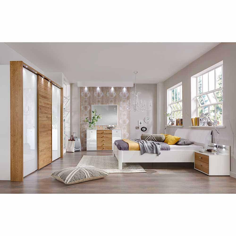 Schlafzimmermöbel Set in Weiß mit Eiche Massivholz (6