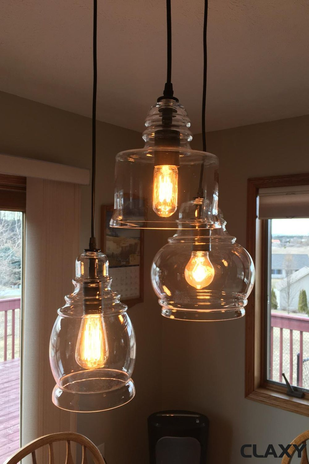 Modern Industrial Chandelier Mason Jar Island 3 Light Fixture