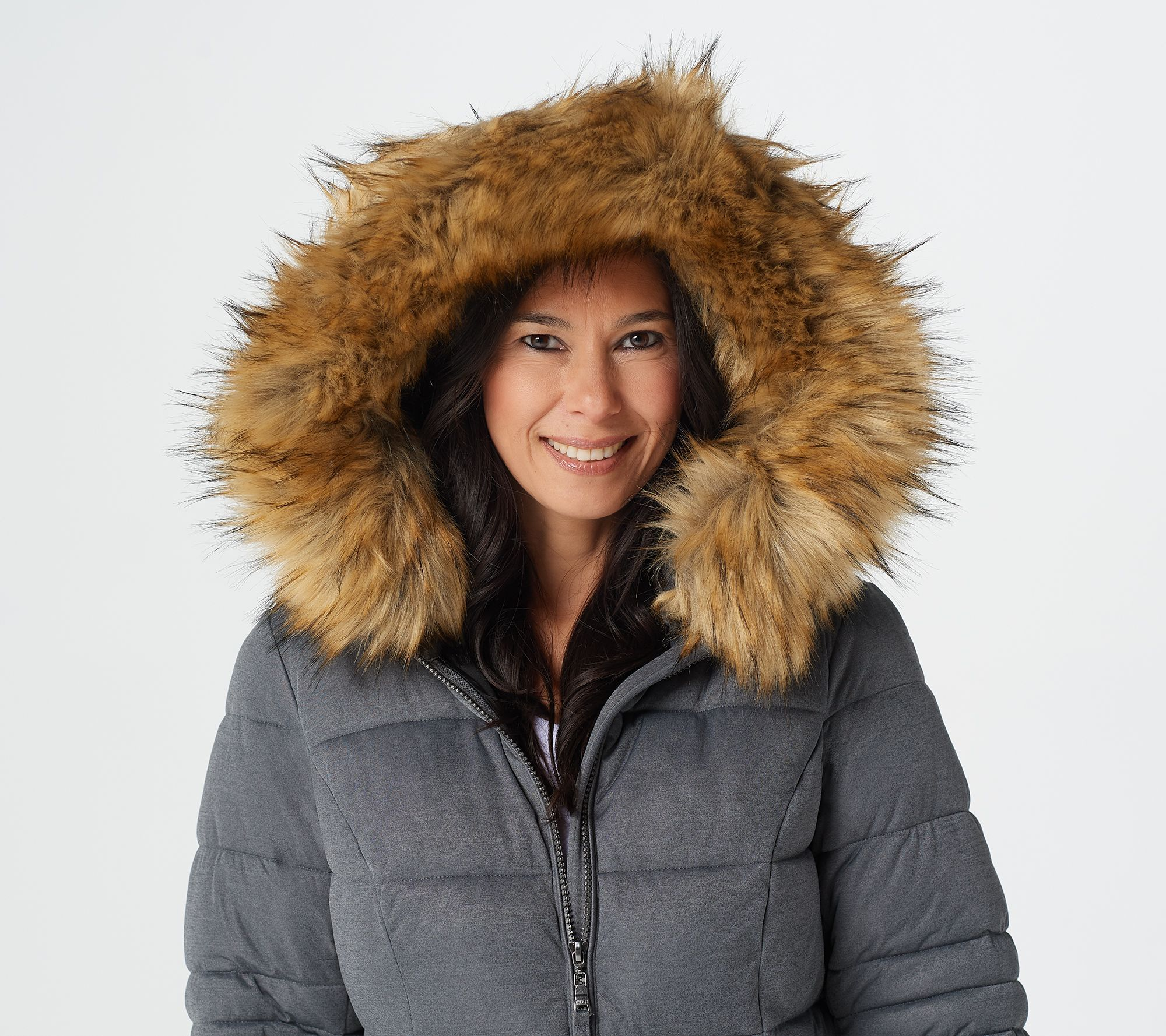 Nuage Stretch Puffer Coat With Removable Hood Faux Fur Qvc Com Puffer Coat Puffer Faux Fur Hood Trim [ 1778 x 2000 Pixel ]