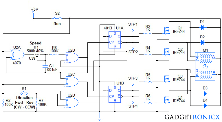 Stepper Motor Controller Circuit Diagram Using Ic S Ic