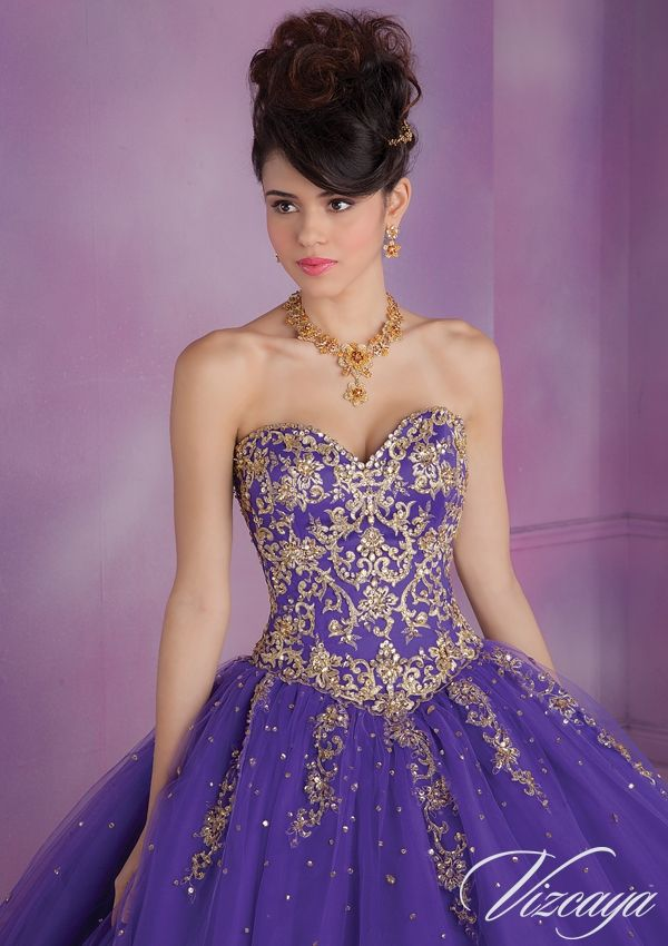 89015 Quinceanera Gowns 89015 Embroidered Tulle Quinceanera Gown ...