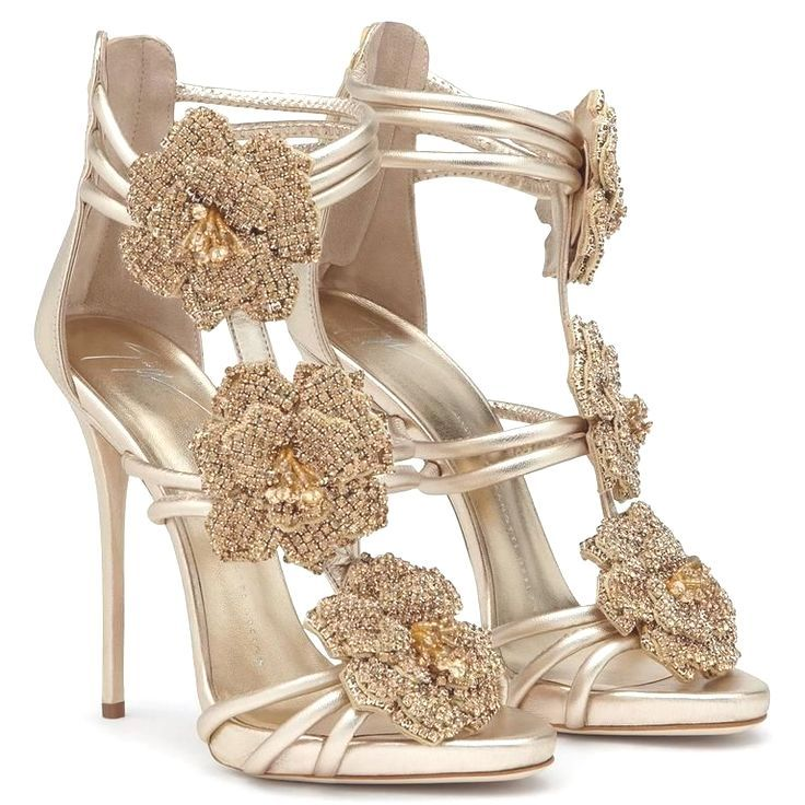 39c94496344d5 Giuseppe Zanotti New Gold Leather Crystal Rose Evening Sandals Heels in Box  3 heeled sandals