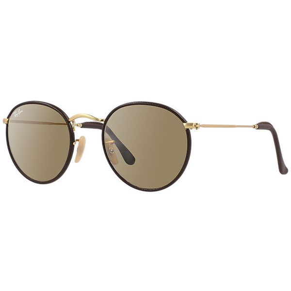 ... new style ray ban round craft gold sunglasses brown lenses rb3475q 200  liked on polyvore featuring d1388eead5