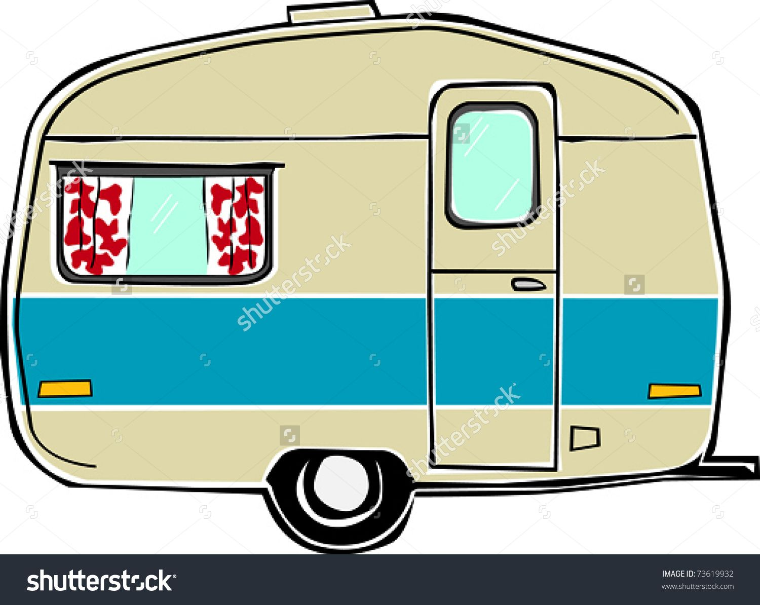Retro Happy Hippie Vintage Travel Trailer Camper Vector Illustration