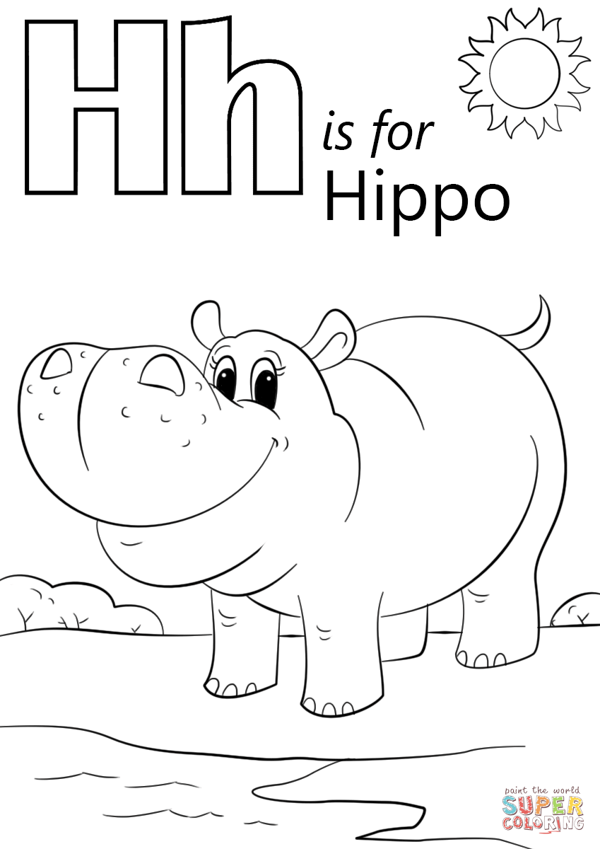 Letter H Is For Hippopotamus Super Coloring Language H Coloring Page