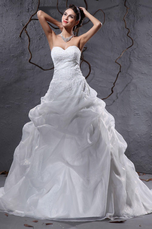 Ball Gown White Organza Court Train Sweetheart Wedding Dress ...