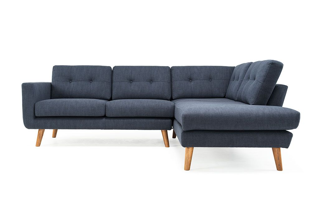 Conrad, 3-seater corner open-end right, Spring Navy, Smoked Oak Legs