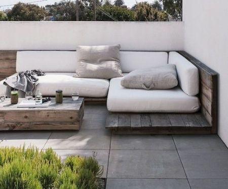 Une banquette simple et pas ch re pour une terrasse ou un jardin aussenraum mobilier de for Meubles pour jardins et terrasses