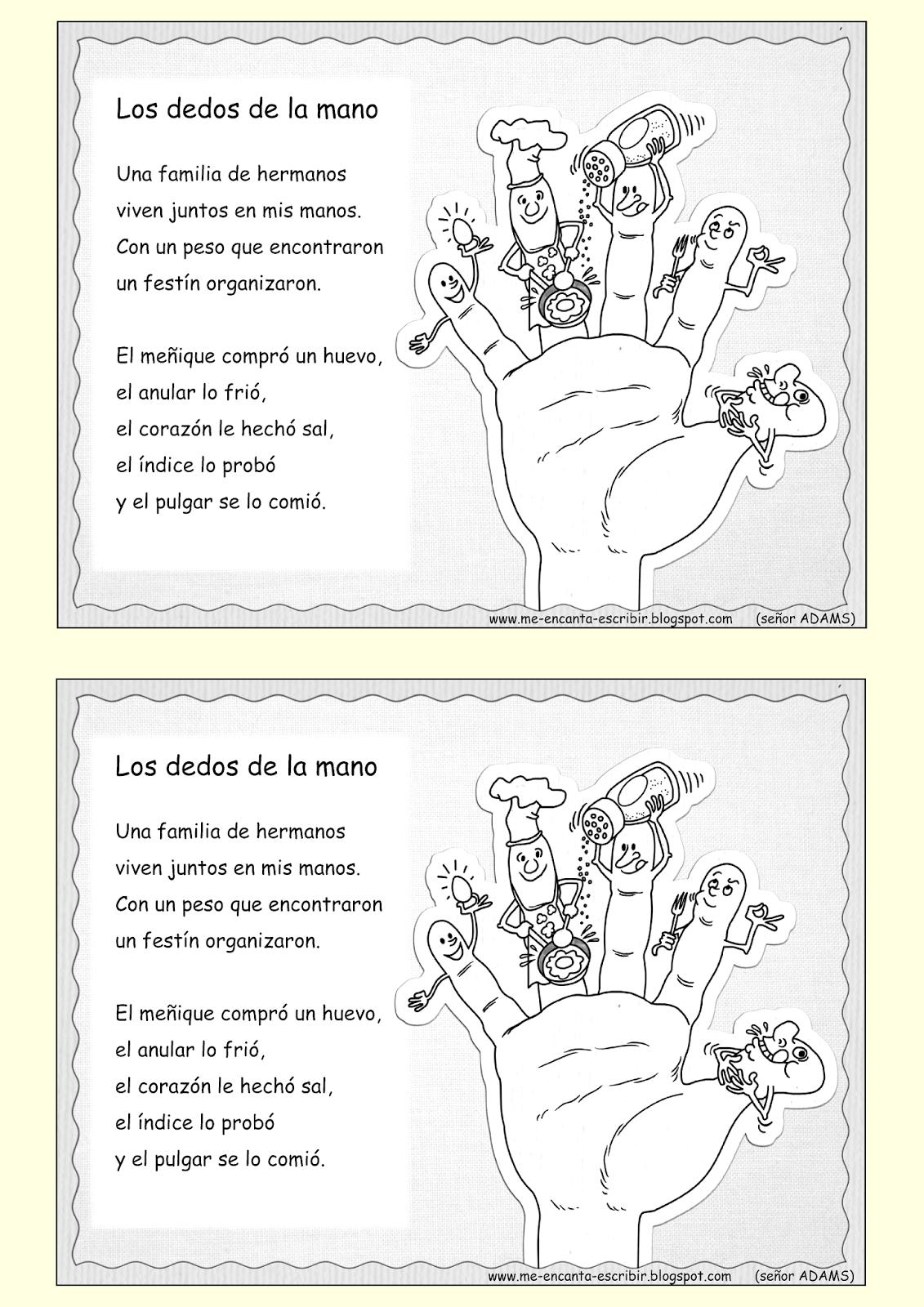 Me Encanta Escribir En Español Los Dedos De La Mano Dedos De La Mano Aula De Español Libros De Tercer Grado