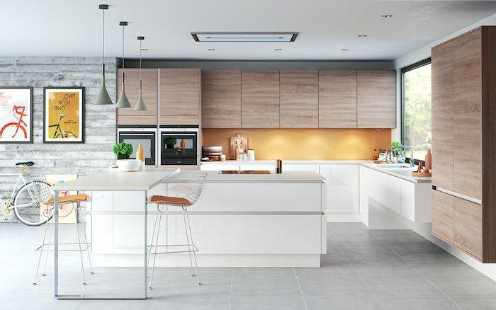 ▷ 1001 + Conseils Et Idées Pour Aménager Une Cuisine Moderne Blanche | Carrelage  Gris Clair, Carrelages Gris Et Meuble Cuisine