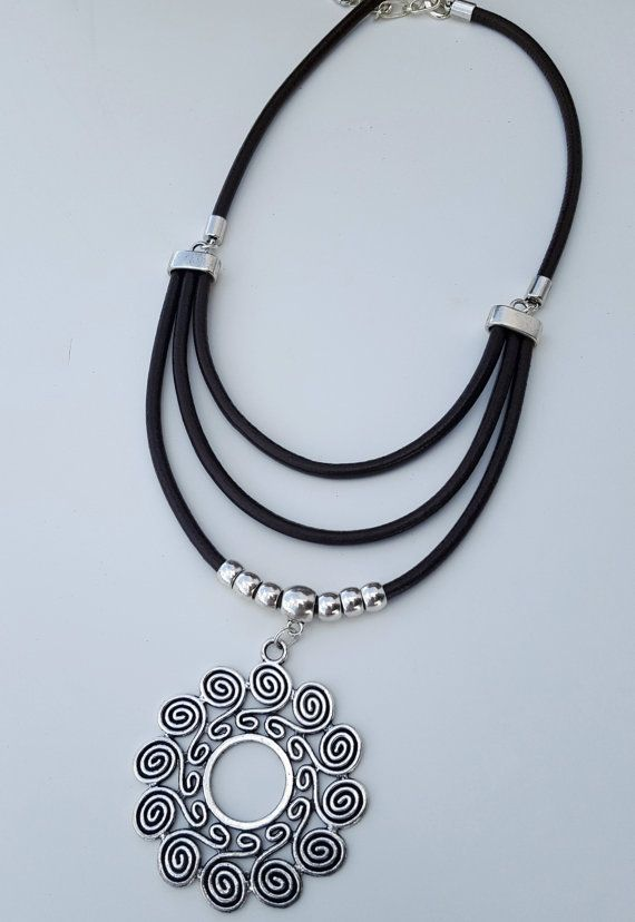 665e15b6d6b6 double strand leather necklace Spiral Pendant