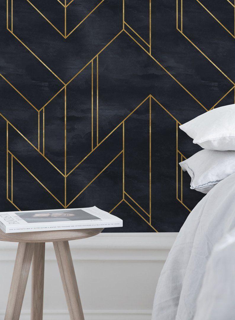 Geometric Wallpaper Wall Mural Minimalistic Removable Etsy Wall Wallpaper Geometric Wallpaper For Walls Geometric Wallpaper
