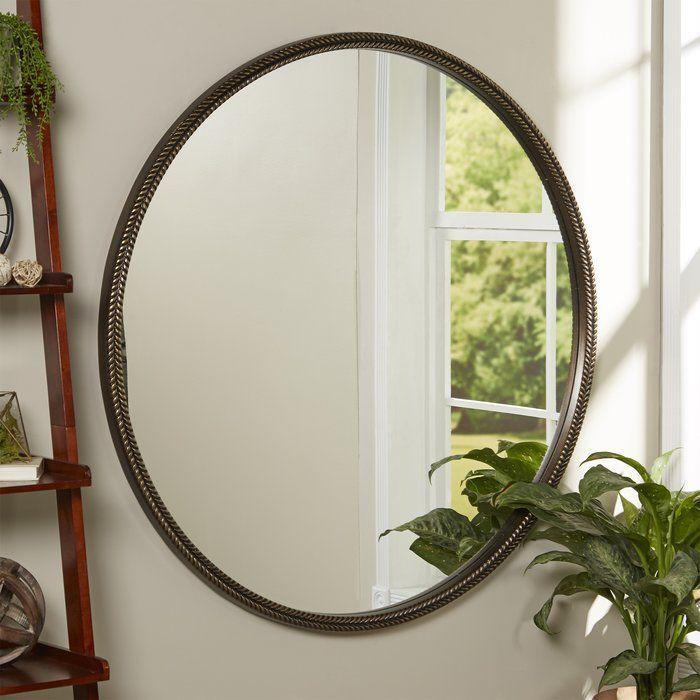 Round Bronze Premium Resin Wall Mirror Mirror Wall Brown Accent