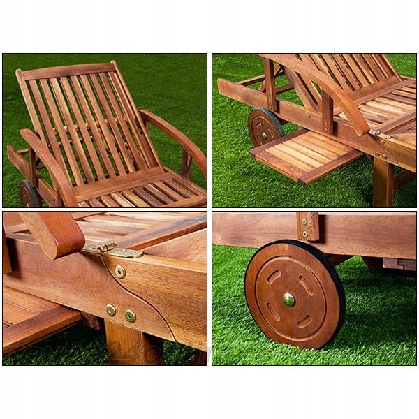 Drewniany Lezak Ogrodowy Lezanka Na Kolach Stolik 7959452978 Oficjalne Archiwum Allegro Outdoor Chairs Picnic Table Outdoor Decor