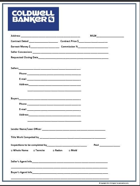 Real Estate Transaction Form Organizing, Real estate and Estate - new customer registration form template